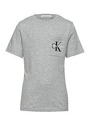 MONOGRAM POCKET TOP - LIGHT GREY HEATHER