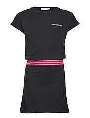 DRESS WITH ELASTIC DROPPED WAIST - BLACK BEAUTY