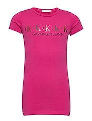 CK REPEAT FOIL T-SHIRT DRESS - HOT MAGENTA
