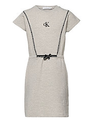SHORT DRESS WITH PIPING DETAIL - LIGHT GREY HEATHER