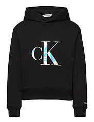 MONOGRAM APPLIQUE HOODIE - CK BLACK