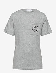 Calvin Klein - MONOGRAM POCKET TOP - korte mouwen - light grey heather - 0