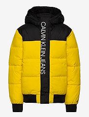 Calvin Klein - COLOUR BLOCK PUFFER JACKET - puffer & padded - bold yellow - 1