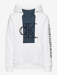 Calvin Klein - MONOGRAM BLOCK HOODIE - kapuzenpullover - bright white - 0