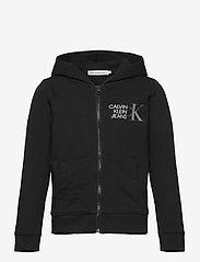 Calvin Klein - HYBRID LOGO ZIP THROUGH - kapuzenpullover - ck black - 0