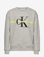Calvin Klein - MONOGRAM STRIPE SWEATSHIRT - sweatshirts - light grey heather - 0