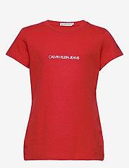 Calvin Klein - METALLIC CHEST LOGO SLIM TOP - korte mouwen - fierce red - 0