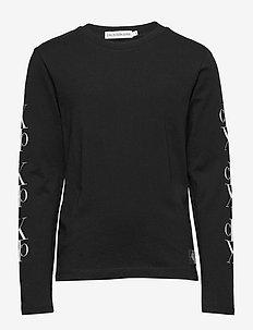 MIRROR MONOGRAM LS T-SHIRT - long-sleeved t-shirts - ck black