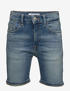 TAPERED SHORT MNGR L - shorts - monogram light blue stretch