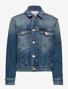 BOYS TRUCKER - MNGR - jeansjakker - monogram light blue stretch