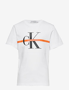MONOGRAM STRIPE SS T - short-sleeved - bright white