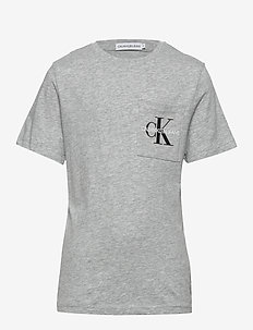 MONOGRAM POCKET TOP - À manches courtes - light grey heather