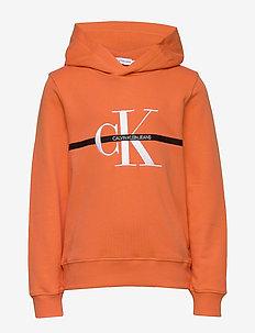 MONOGRAM STRIPE HOOD - hoodies - orange tulip