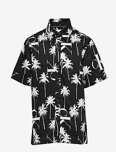 PALM AOP SS SHIRT - shirts - ck black aop palm