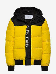 COLOUR BLOCK PUFFER JACKET - puffer & padded - bold yellow