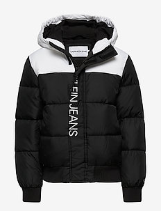 COLOUR BLOCK PUFFER JACKET - puffer & padded - ck black