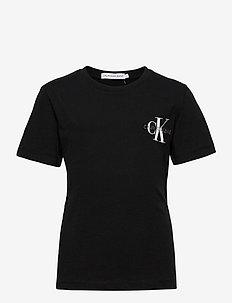 CHEST MONOGRAM TOP - t-shirts - ck black