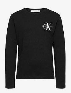 CHEST MONOGRAM LS TOP - langermede t-skjorter - ck black