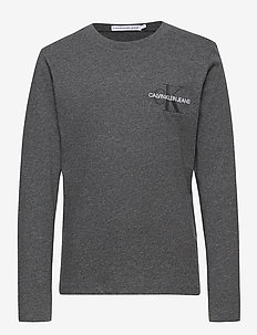 CHEST MONOGRAM LS TOP - langermede t-skjorter - dark grey heather