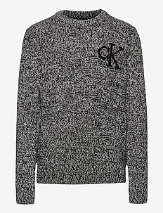 CK MONOGRAM SWEATER - strikkevarer - ck black