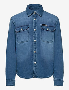 STRETCH KNITTED DENIM SHIRT - skjorter - denim light 01
