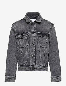 TRUCKER JACKET MN DARK W GR STR - jeansjacken - monogram dark wash grey stretch