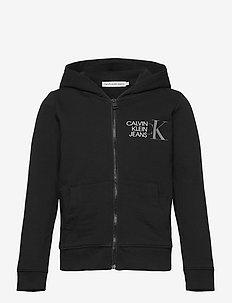 HYBRID LOGO ZIP THROUGH - kapuzenpullover - ck black