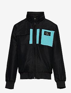 FABRIC MIX MONOGRAM BADGE JACKET - light jackets - ck black