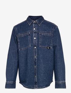 RELAXED DENIM SHIRT - shirts - authentic mid blue rigid