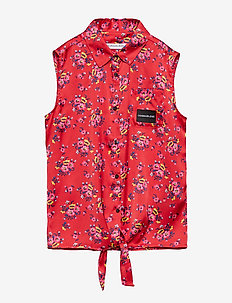 SATIN FLOWER FRONT KNOT TOP - RACING RED