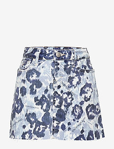 A-LINE SKIRT W FLOWER BL COM - skirts - waterflower blue comfort