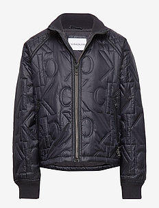 MONOGRAM QUILTED BOMBER JACKET - bomber jackets - ck black