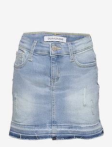 SKIRT LUSTER BL DST - skirts - luster blue destructed stretch