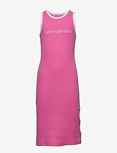 INSTITUTIONAL RIB TANK DRESS - VIVID PINK