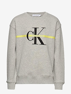 MONOGRAM STRIPE SWEATSHIRT - sweatshirts - light grey heather