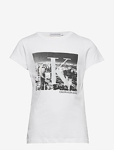 CK PHOTO PRINT SLIM SS T-SHIRT - À manches courtes - bright white