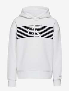 STRIPED MONOGRAM HOODIE - bluzy z kapturem - bright white