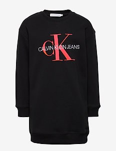 NEON MONOGRAM SWEATSHIRT DRESS - jurken - ck black