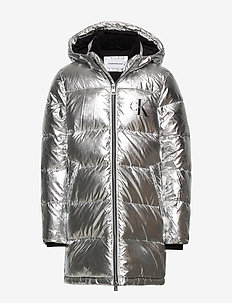 SILVER PUFFER LONG COAT - puffer & padded - silver metallic