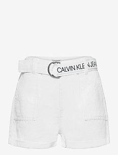 LOGO TAPE TWILL SHORTS - shorts - bright white