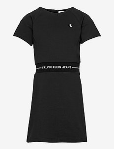 INTARSIA LOGO WAIST PUNTO DRESS - kleider - ck black