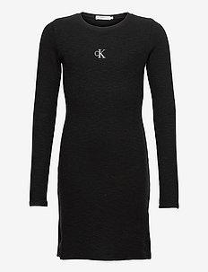 FANTASY RIB LS KNIT DRESS - kleider - ck black