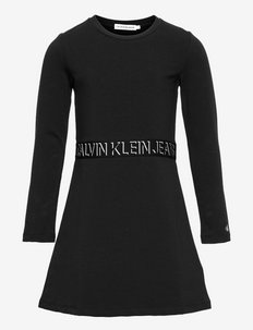 SHADOW LOGO LS SKATER DRESS - kleider - ck black
