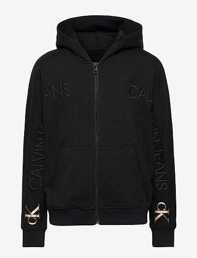LOGO EMBROIDERY ZIP THROUGH - hoodies - ck black