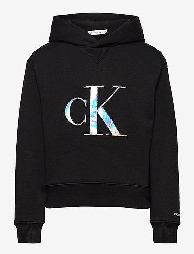 MONOGRAM APPLIQUE HOODIE - hoodies - ck black