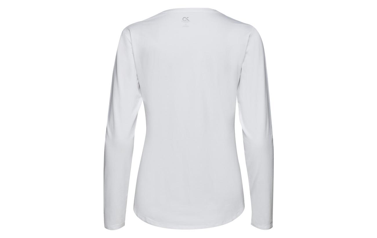 Elastane Calvin 5 White 95 Logo Klein Tee Performance Coton Ls Bright qUqBw4vA7