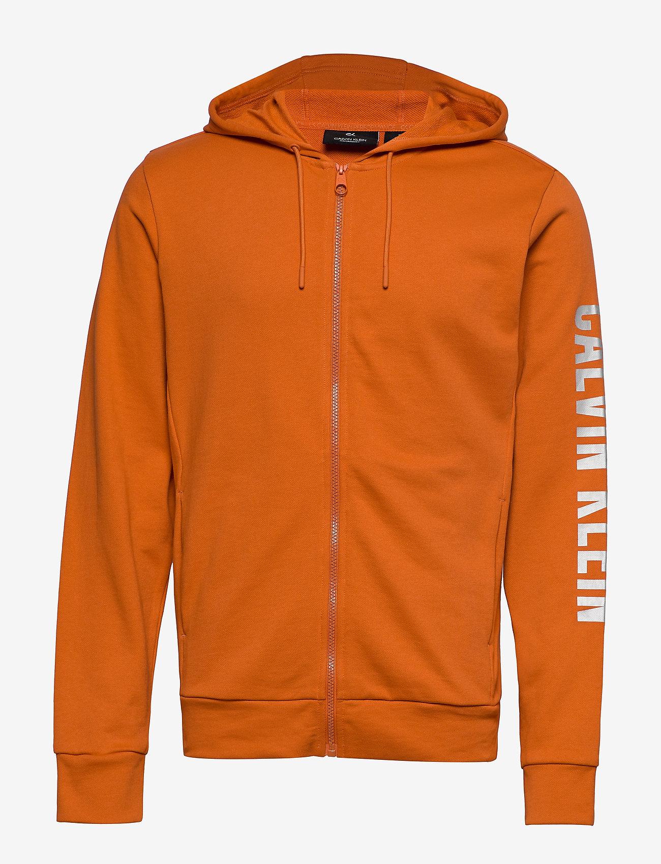 Calvin Klein Performance - FULL ZIP HOODED JACKET - hoodies - burnt orange - 0