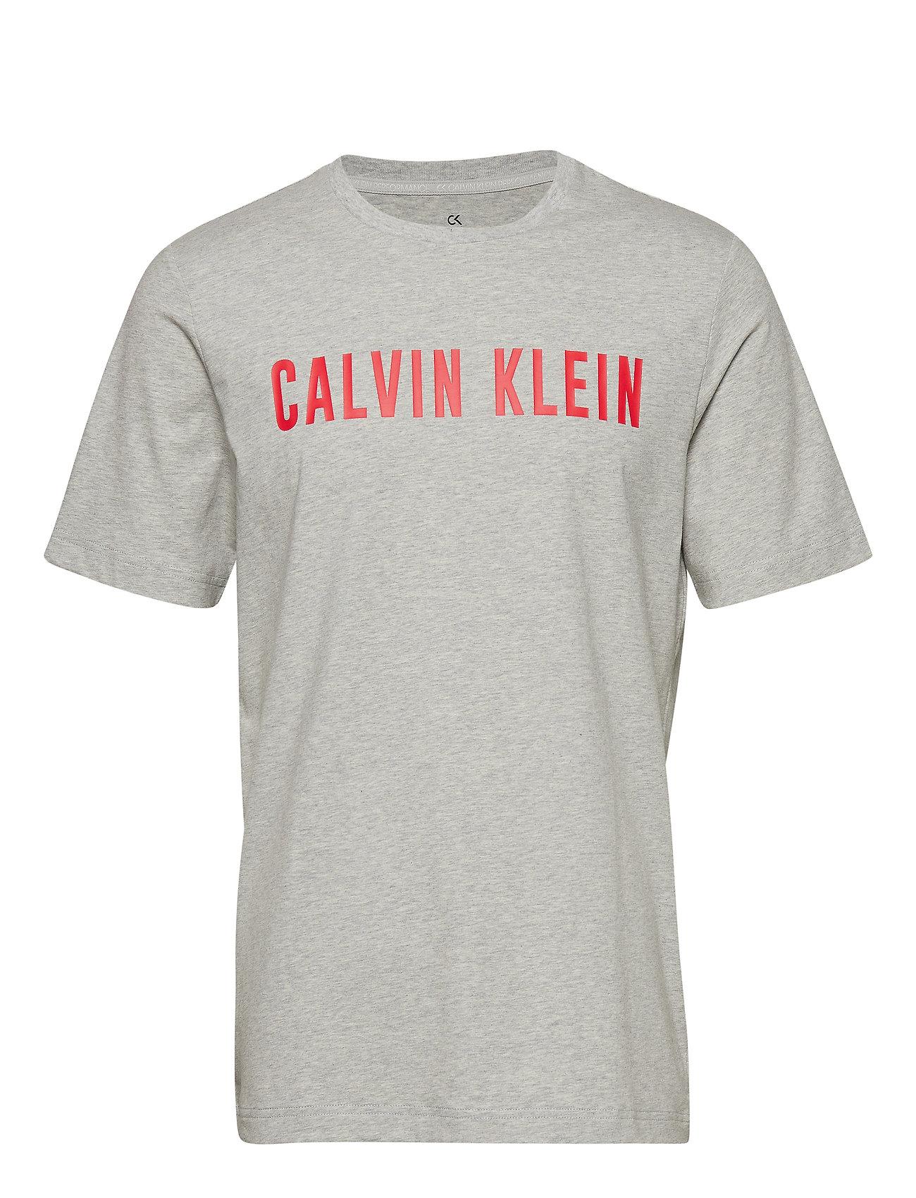 Calvin Klein Performance SHORT SLEEVE T-SHIRT - LT GREY HTR/HIGH RISK RED