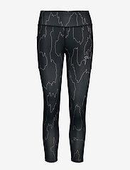 Calvin Klein Performance - 7/8 TIGHT - running & training tights - ck black abstract - 0