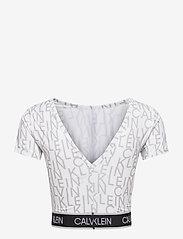 Calvin Klein Performance - WO - AOP CROP  T-SHIRT - crop tops - bright white ck aop - 1